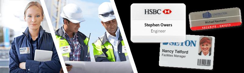 Ausweise und Namensschilder für Einrichtung-Management-Unternehmen