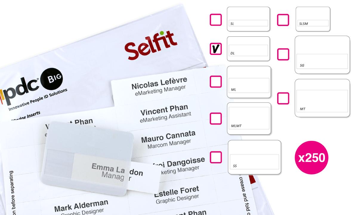 DoubleLine Selfit®-Einleger, 70mm x 18mm, weiß, 250Einleger