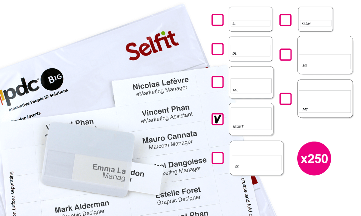 Multimega Selfit®-Einleger, 75mm x 36mm, weiß, 250Einleger