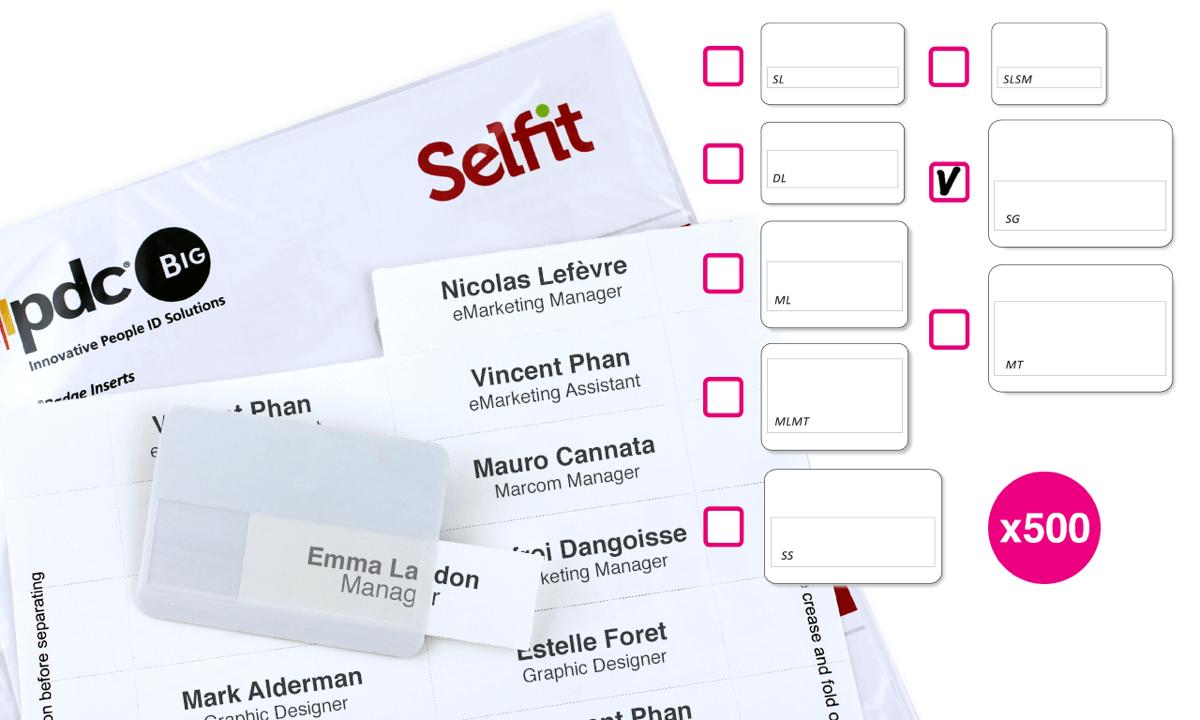 Grande Selfit®-Einleger, 95mm x 24mm, weiß, 500Einleger