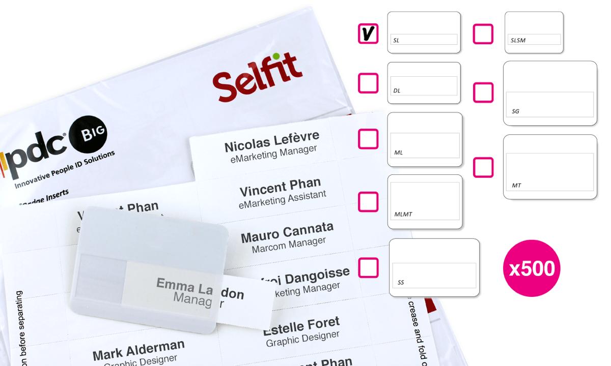 SingleLine Selfit®-Einleger, 70mm x 12mm, weiß, 500Einleger