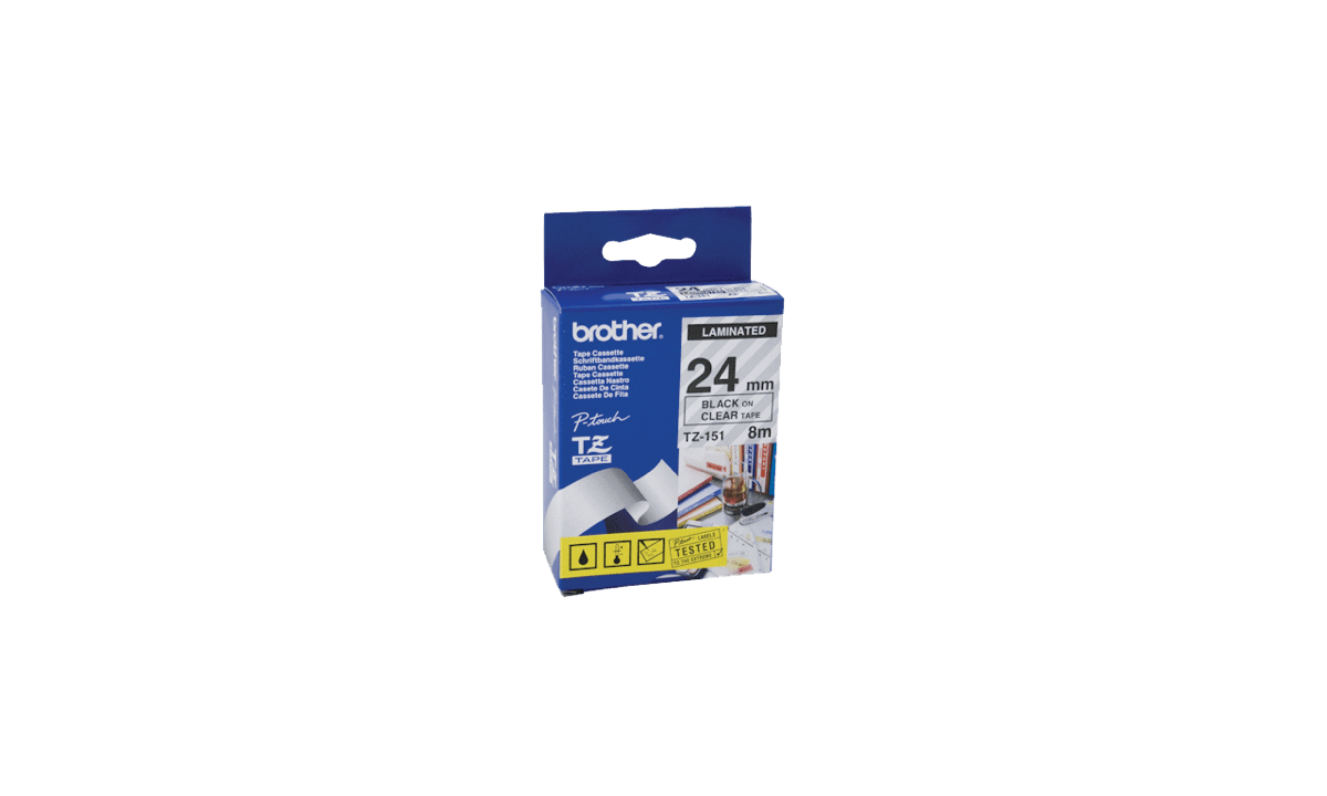 BrotherP Touch-Bänder, 24mm, schwarz auf transparentem Band