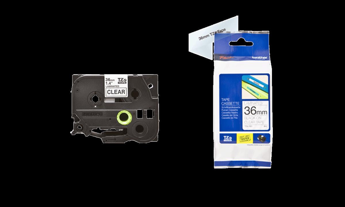 BrotherP Touch-Bänder, 36mm, schwarz auf transparentem Band