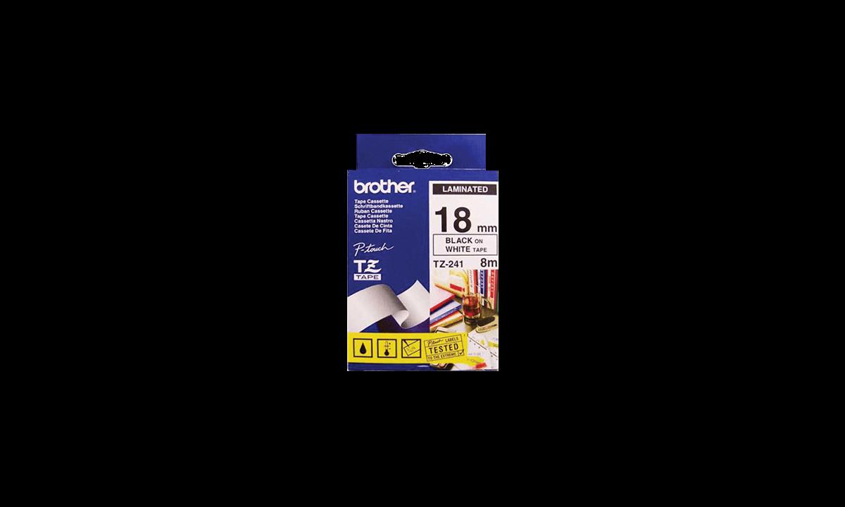 BrotherP Touch-Bänder, 18mm, schwarz auf weißem Band
