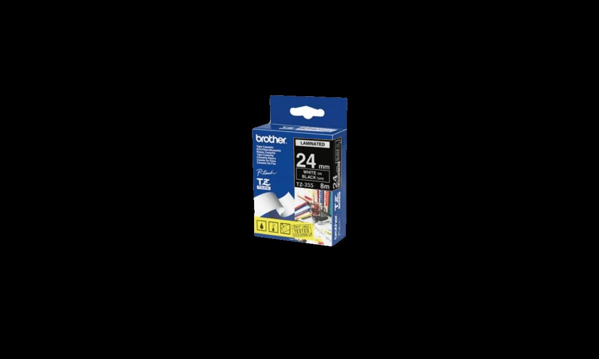 BrotherP Touch-Bänder, 24mm, weiß auf schwarzem Band