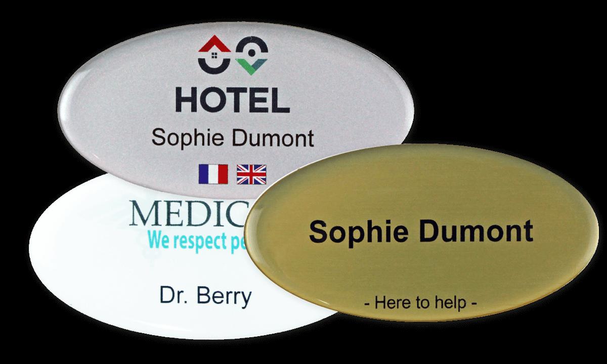 Premium Impress Namensschild, 75 x 38 mm - Oval