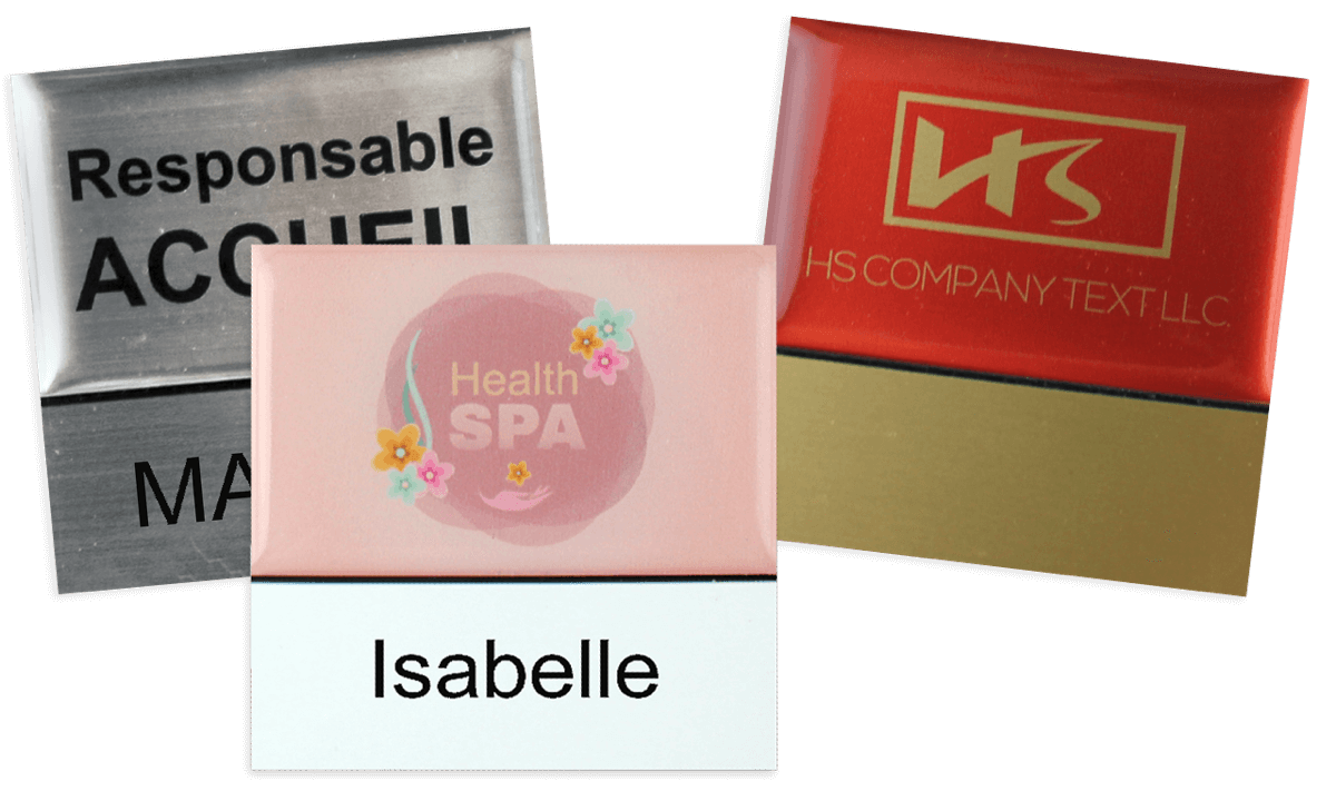 Premium wiederwendbares Namensschild, 50 x 50 mm, 18 mm Etikette zum Aufkleben