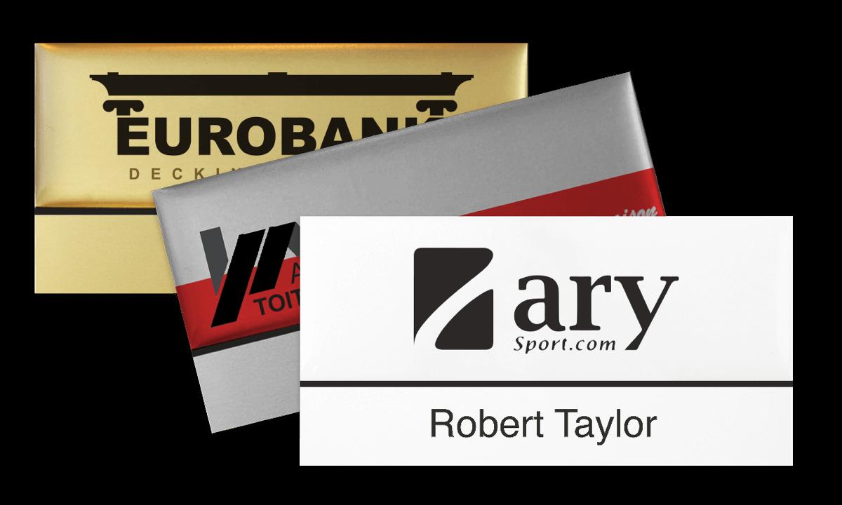 Premium wiederwendbares Namensschild, 75 x 38 mm, 12 mm Etikette zum Aufkleben
