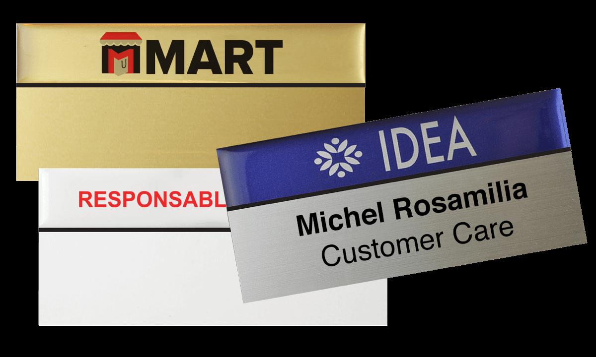 Premium wiederwendbares Namensschild, 75 x 38 mm, 24 mm Etikette zum Aufkleben