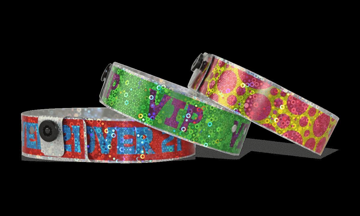 Personalisierte vollfarbige holografische Armbänder, 19 mm, Liquid Glitter