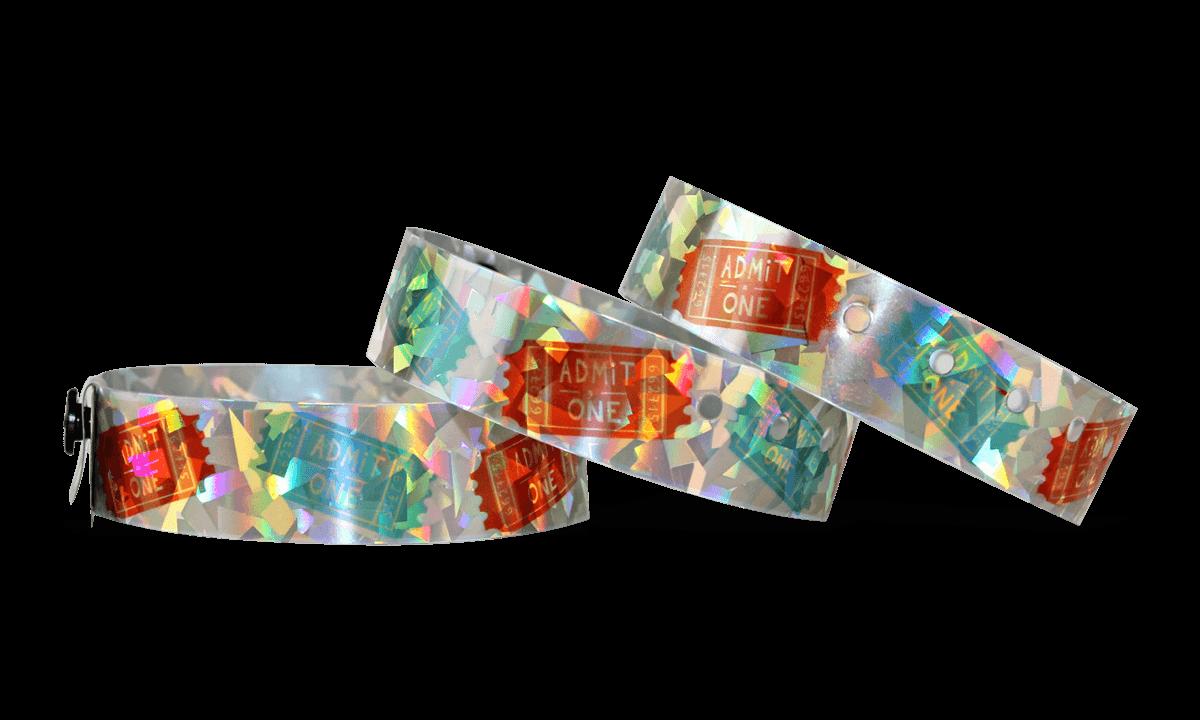 Personalisierte vollfarbige holografische Armbänder, 19 mm, Confetti