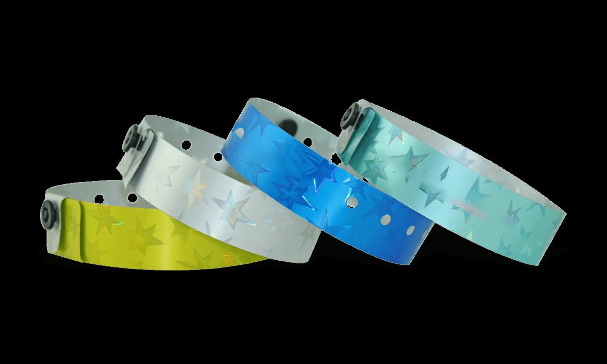 Holografische Armbänder, 19 mm, Stars