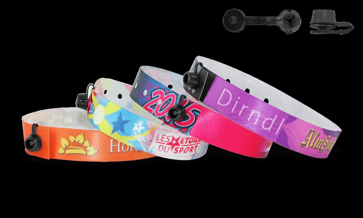 Gedruckte Satin-Armbänder mit rundem Kunststoffverschluss, Nice