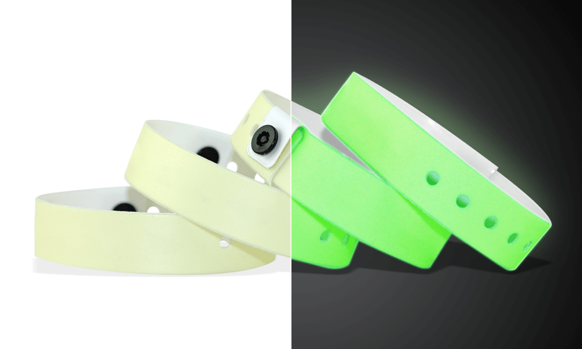 Medium Vinyl-Armbänder, 19 mm, Glow in The Dark