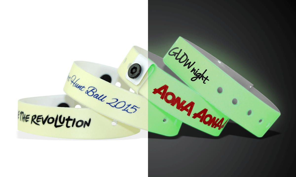 Personalisierte  Vinyl-Armbänder, 19 mm, Glow in The Dark
