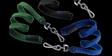 10mm dicke, hülsenförmige Schlüsselbänder mit trennbarer Lasche und Metallkarabiner