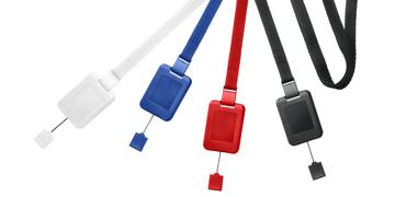 10 mm breite, flache Schlüsselbänder mit Sicherheitsverschluss und SlimReel-System